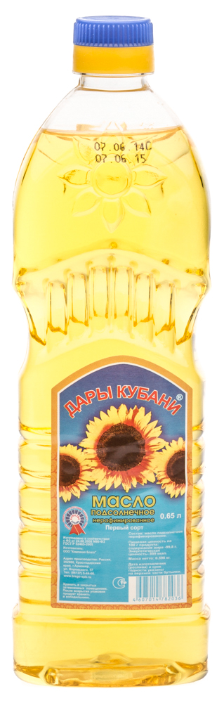 Масло подсолнечное нерафинированное «Дары Кубани»