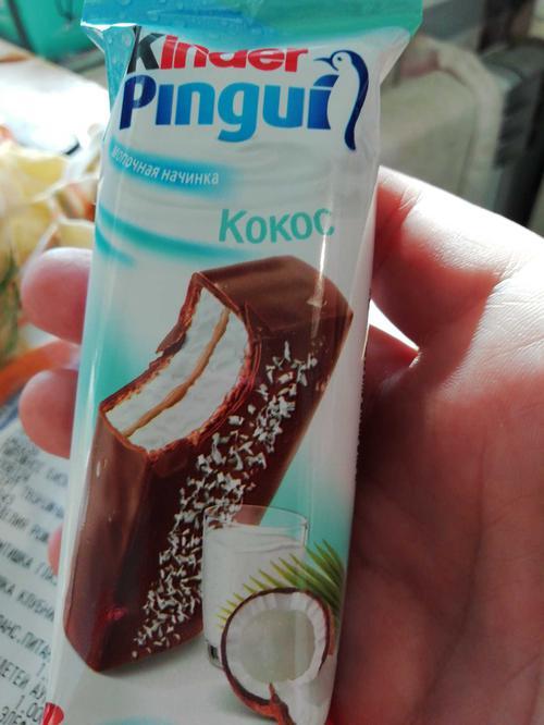"""Пирожное """"Kinder Pingui"""" кокос бисквитное, покрытое молочным шоколадом, с молочно-кокосовой начинкой, 30г."""
