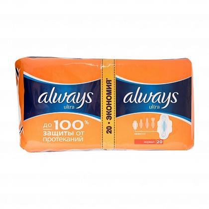 """Гигиенические прокладки """"Always ultra"""" DUO, Normal plus, 2х10 шт."""