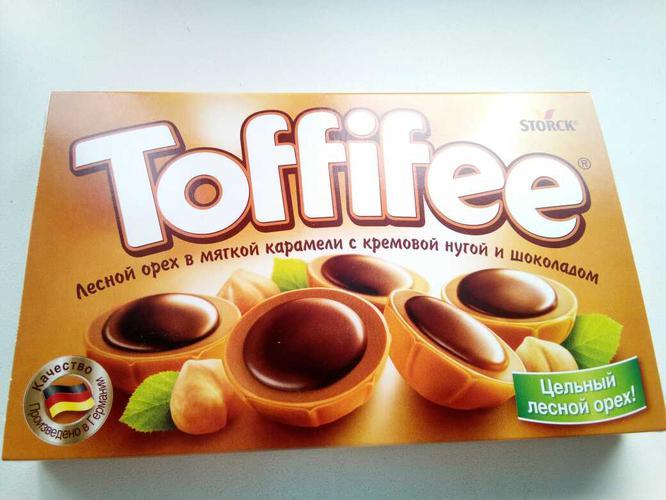 """фото4 Конфеты """"Тоффифи"""" (Toffifee) Лесной Орех в карамельной чашечке с нугой и шоколадом, 125гр."""