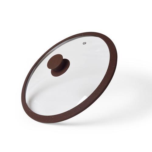 Крышка ARCADES 26см с силиконовым ободком, цвет ТЕМНО-КОРИЧНЕВЫЙ (стекло)