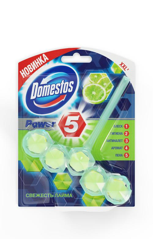 цена Domestos блок для очищения унитаза Power 5 свежесть лайма 55г/9