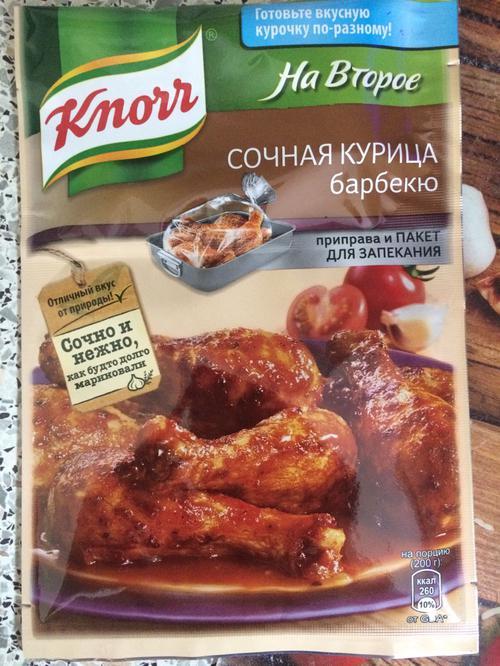 описание Кнорр на второе сухая смесь для приготовления сочной курицы барбекю 27х26г