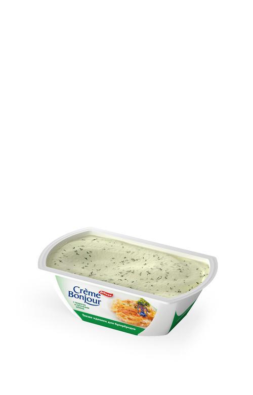 """описание Крем растительно- творожный """"Creme Bonjour""""  с творогом кусочками зелени, 200 г."""