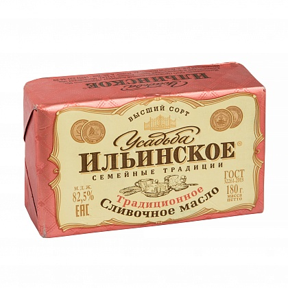 """Масло сливочное традиционное """"Усадьба Ильинское. Семейные традиции"""". Массовая доля жира 82.5%. Высший сорт"""