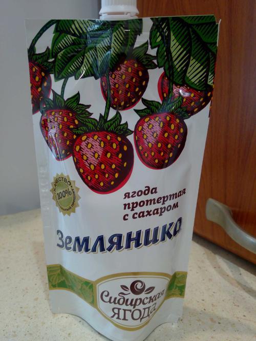 Ягода протёртая с сахаром земляника 280 гр