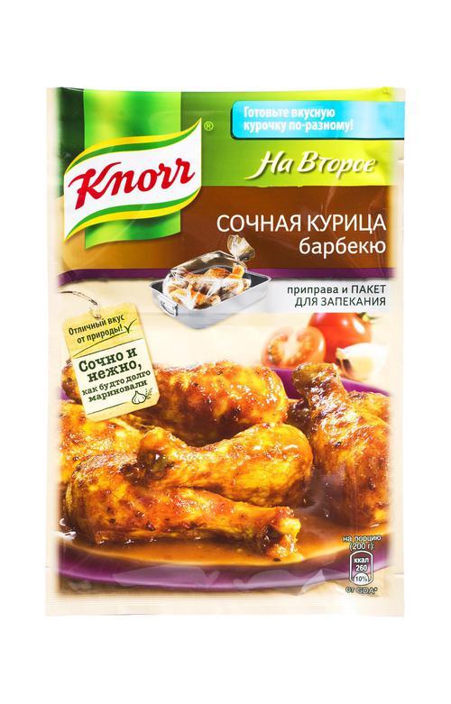 отзыв Кнорр на второе сухая смесь для приготовления сочной курицы барбекю 27х26г