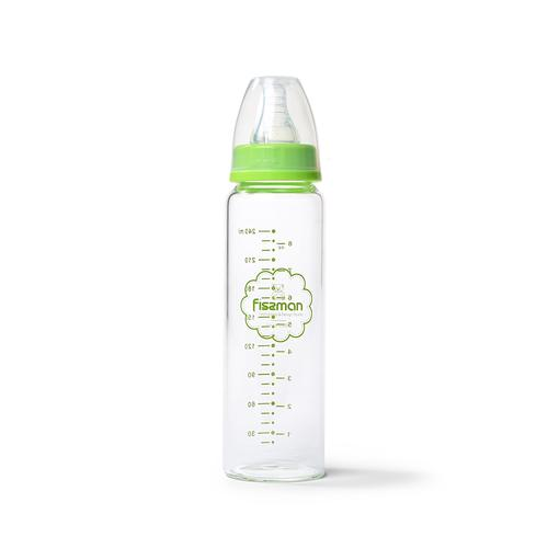 Бутылочка для кормления 240мл, цвет Салатовый (жаростойкое стекло)