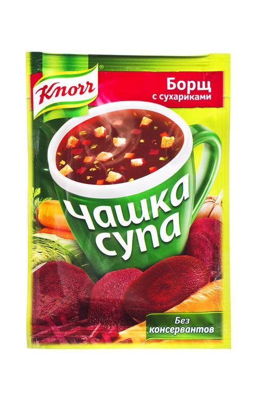 """Борщ с сухариками, """"Чашка супа"""" , """"Кнорр"""", 14,8 г"""