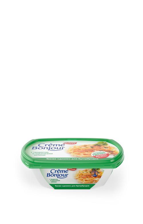 """цена Крем растительно- творожный """"Creme Bonjour""""  с творогом кусочками зелени, 200 г."""