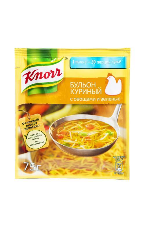 """отзыв Бульон куриный с овощами и зеленью """"Knorr"""" 75г"""