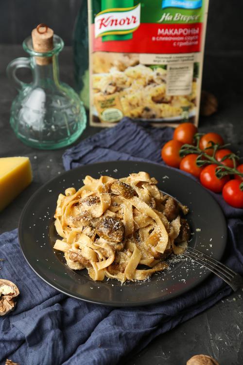 отзыв Кнорр на второе сухая смесь для приготовления макарон в сливочном соусе с грибами