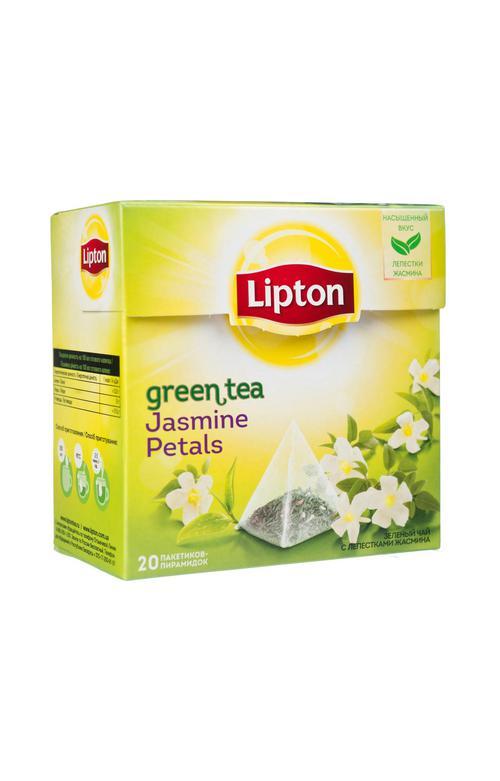 """описание Ароматизированный зеленый байховый чай с лепестками жасмина """"LIPTON GREEN TEA JASMINE"""", 20 пакетиков-пирамидок, 34 г."""