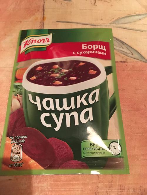 """описание Борщ с сухариками, """"Чашка супа"""" , """"Кнорр"""", 14,8 г"""