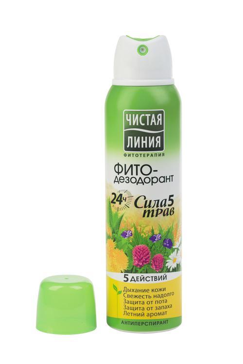 Чистая линия ФИТО-дезодорант Сила 5 трав 24 ч