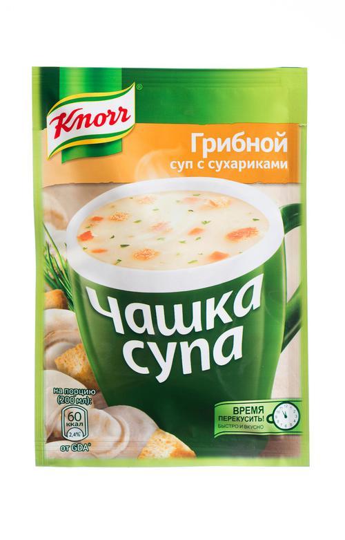 """Суп с сухариками """"Чашка супа"""" Грибной, сухая смесь, 1 порция, """"Knorr"""", 15,5г"""