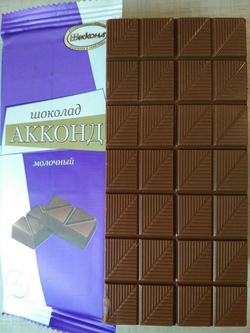 """шоколад """"акконд"""" молочный, ф.90 г"""