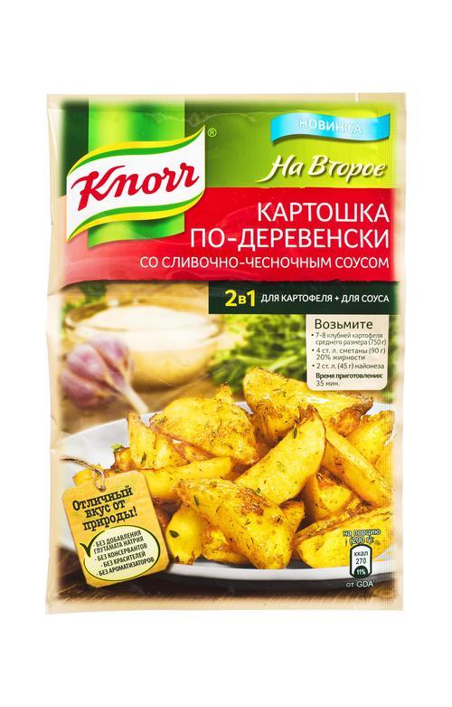 Приправа Knorr на второе карт.по-деревенск.чесночн.соус 28г