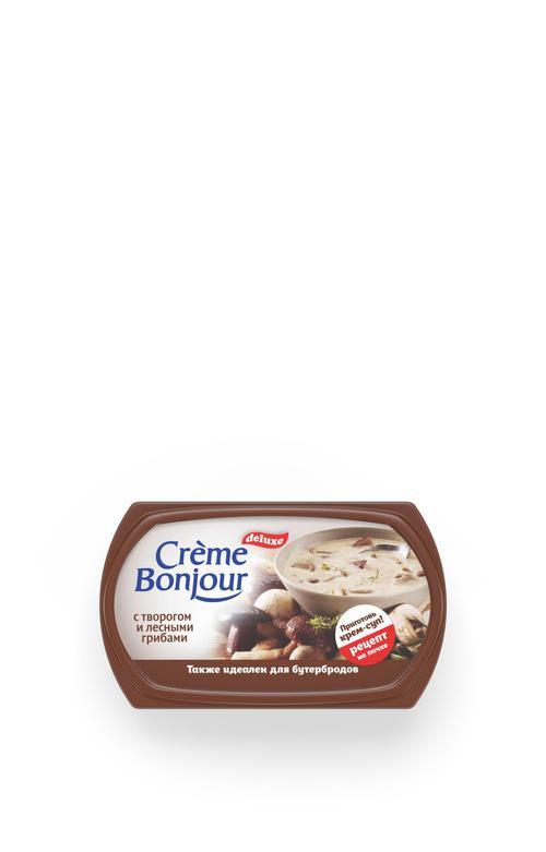 """Крем растительно- творожный """"Creme Bonjour""""  с творогом и лесными грибами, 200 г."""