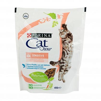 фото3 Корм сухой Cat Chow для взрослых кошек с чувствительной пищеварительной системой с лососем 0,4кг