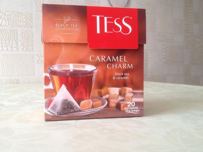 фото1 Чай черный байховый с ароматом и кусочками карамели Тесс Карамель Шарм в пакетиках