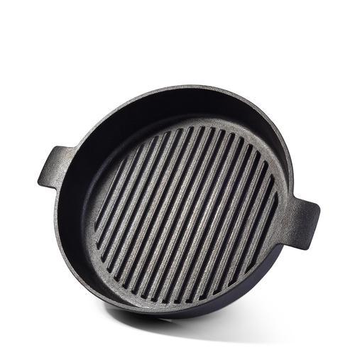 Сковорода-гриль 26x5см Круглая с двумя боковыми ручками (чугун)