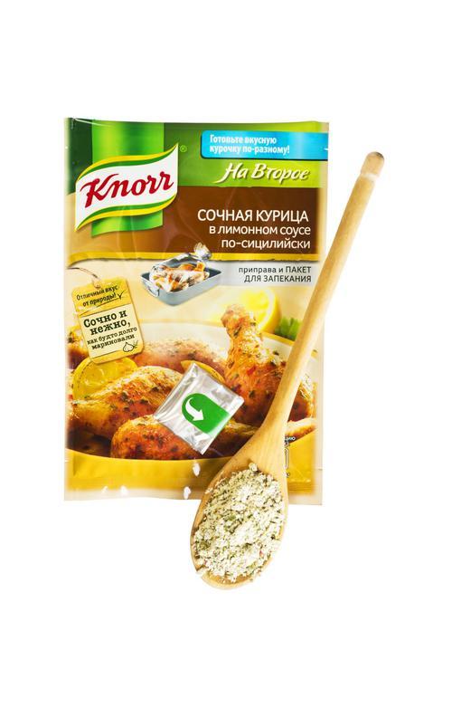 """Сухая смесь для приготовления """"Knorr"""" сочная курица в лимонном соусе по- сицилийски 21 г."""