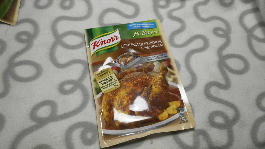 """описание Сухая смесь """"Кнорр"""" для сочного цыпленка с чесноком 29г."""