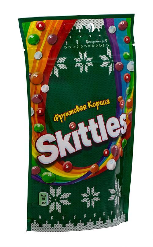 Драже Skittles Фруктовая корица в сахарной глазури с ароматами яблока-корицы вишни-корицы лимона-корицы апельсина-корицы и чёрной смородины-корицы, 100г