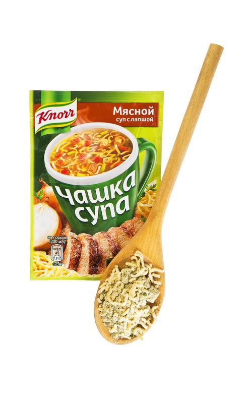 """Суп мясной с лапшой, """"Чашка супа"""" , """"Кнорр"""", 14 г"""