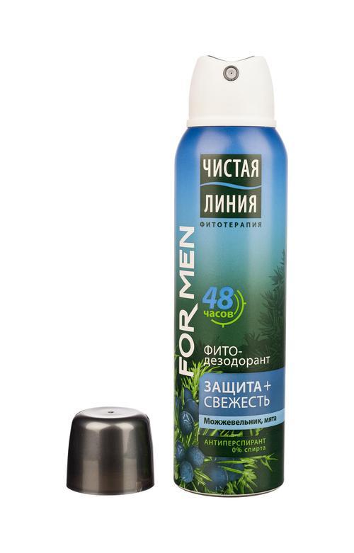 Антиперспирант аэрозоль фитодезодорант чистая линия для мужчин защита и свежесть