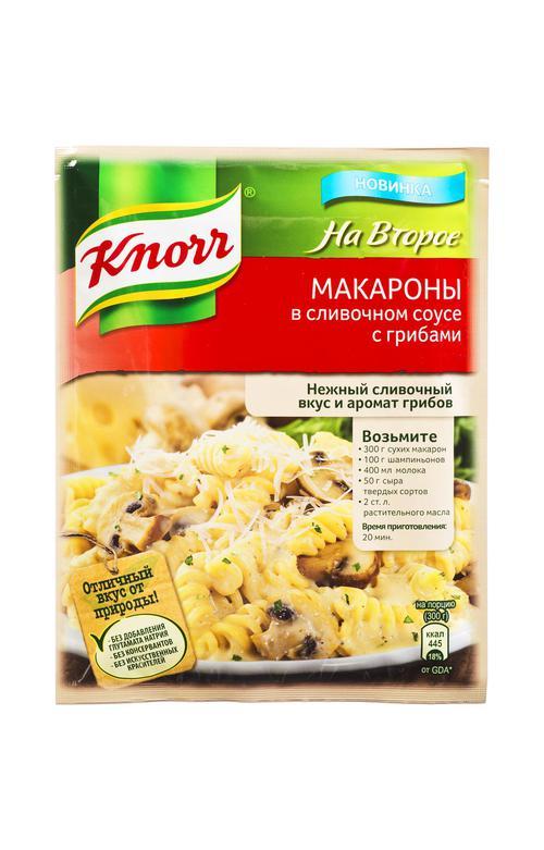 Кнорр на второе сухая смесь для приготовления макарон в сливочном соусе с грибами
