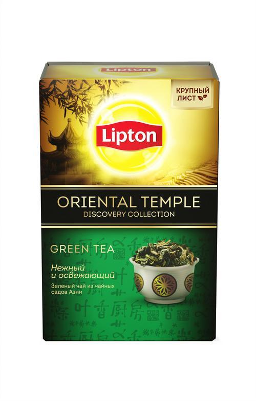 описание Lipton чай зеленый листовой Oriental Temple 85 гр