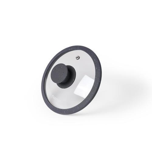 Крышка ARCADES 16см с силиконовым ободком, цвет СЕРЫЙ (стекло)