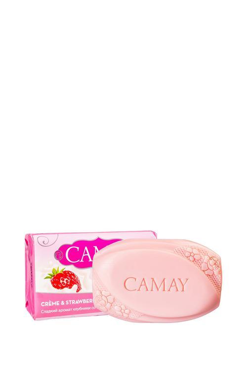цена Мыло туалетное Camay Creme&Strawberry Клубника со сливками, 85гр.