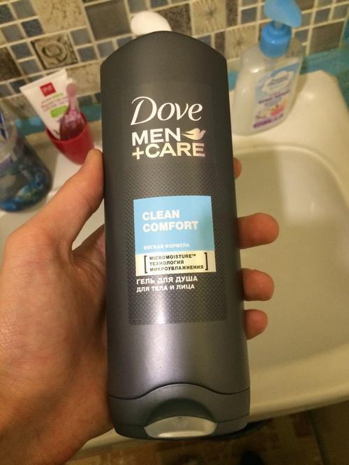"""фото Гель для душа для тела и лица """"Dove Men+care"""" Чистота и комфорт, мягкая формула, борется с сухостью кожи, 250мл"""