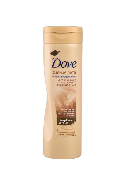 цена Лосьон для тела Dove Нежное мерцание для смуглой и загорелой кожи. 250 мл