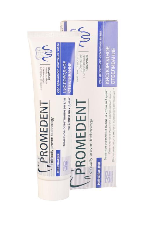 "описание 32 Бионорма Promedent зубная паста ""Кислородное отбеливание"",  90 мл"