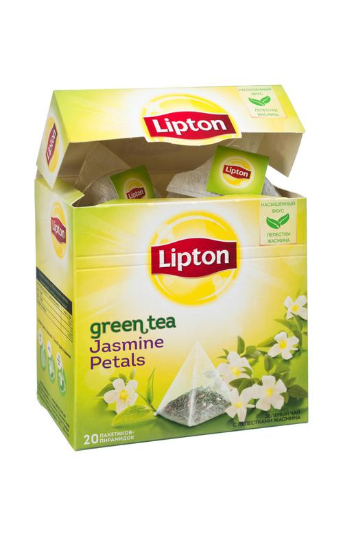 """Ароматизированный зеленый байховый чай с лепестками жасмина """"LIPTON GREEN TEA JASMINE"""", 20 пакетиков-пирамидок, 34 г."""