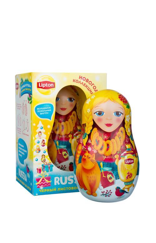 фото1 Набор Lipton «Новогодняя игрушка-матрешка» с листовым чаем