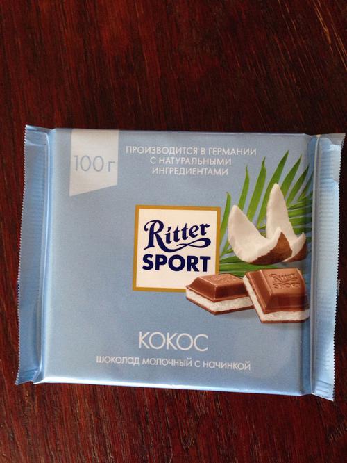 """Шоколадка """"Ritter Sport"""" С Кокосовый Начинкой"""