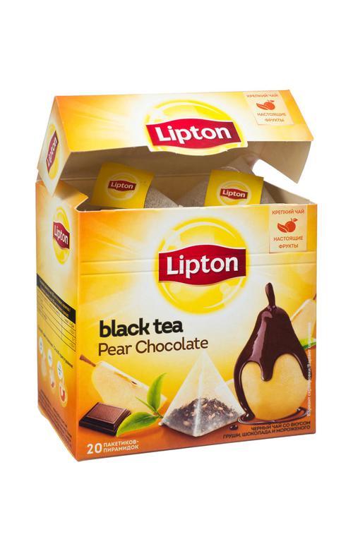 """отзыв Чай LIPTON """"Pear Chocolate"""", черный с грушей, шоколадом и мороженым, 20 пирамидок по 1,6г."""