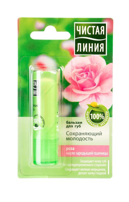 Бальзам для губ чистая линия сохраняющий молодость роза