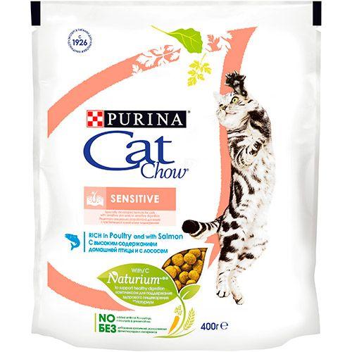 Корм сухой Cat Chow для взрослых кошек с чувствительной пищеварительной системой с лососем 0,4кг