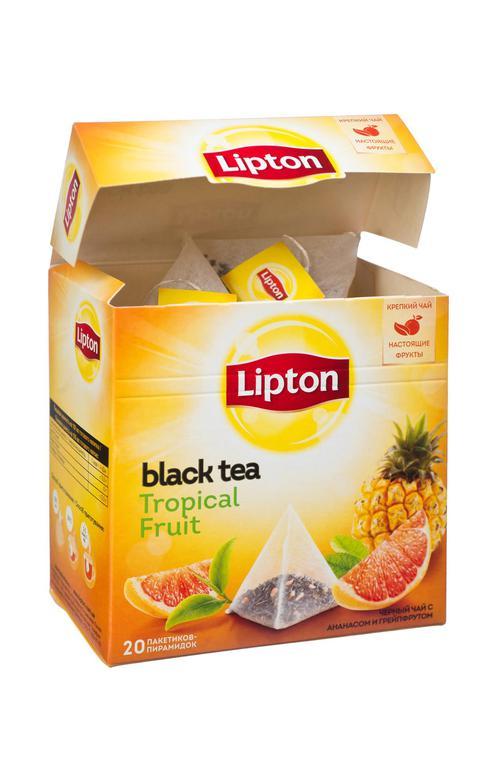 """отзыв Lipton черный чай в пирамидках, фруктовый """"Tropical Fruit Tea"""" 40 шт"""