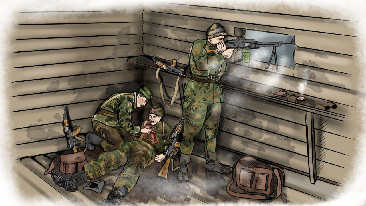 Русские добровольцы ведут бой из ДЗОТа. Иллюстрация Ирины Давидович