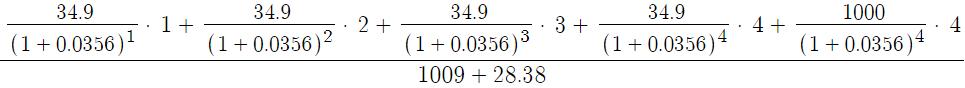 Пример расчета дюрации облигации