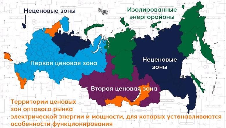 Территориальное деление ОРЭМ на ценовые зоны
