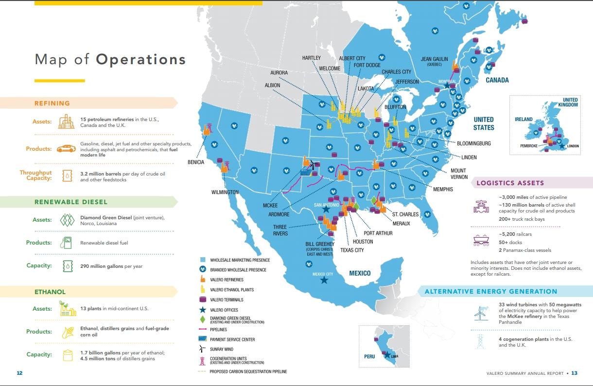 Деятельность Valero Energy на карте