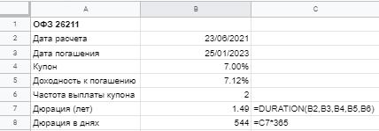 Расчет дюрации в Excel и Google Sheets